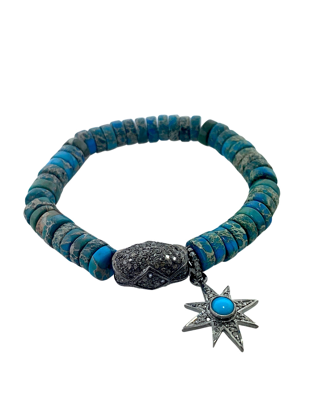 Sterling Silver Pave Diamond Bead and Turquiose Star on Turquoise Beads