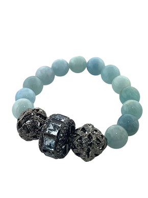 Faceted Aquamarine and Pave Diamond Beads on Natural Aquamarine Beads