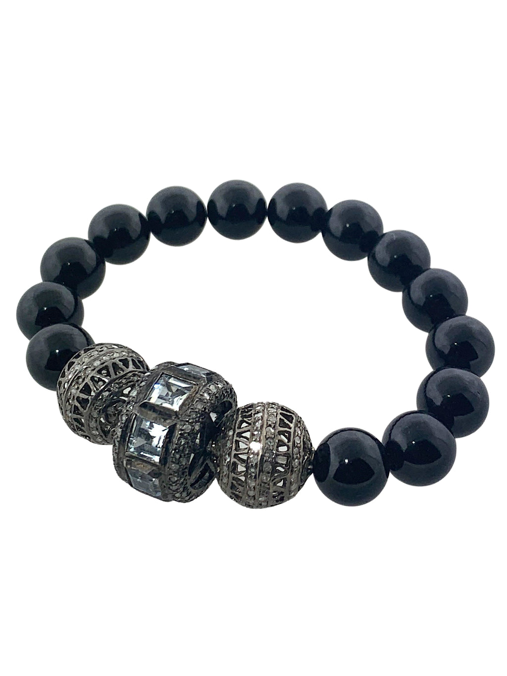 Black Tourmaline with Faceted Aquamarine and Pave Diamond Beads