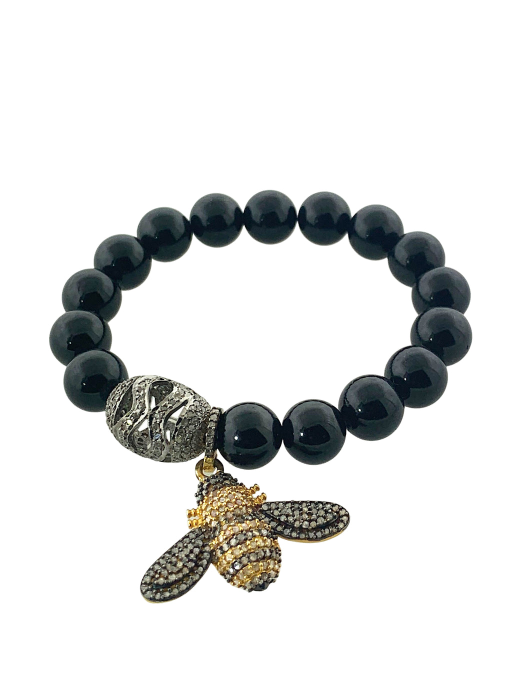 Black Tourmaline with a Pave Diamond Bead and Bee