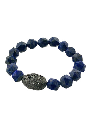 Pave Diamond Bead on Star Cut Lapis