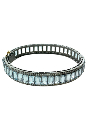 Faceted Aquamarine with Micropave Diamonds on Sterling Silver