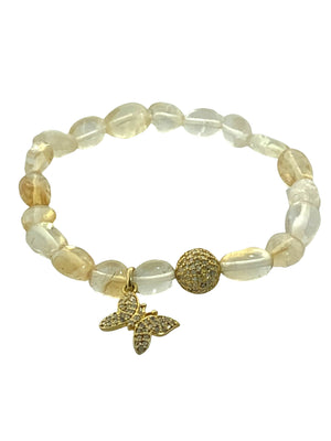 Citrine Beads with a Pave Diamond Bead and Butterfly Charm in Brass