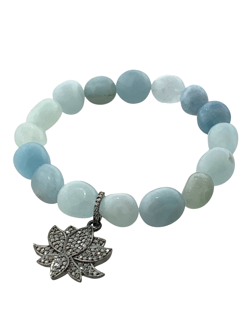 Aquamarine Beads with Pave Diamond Lotus Charm set in Sterling Silver