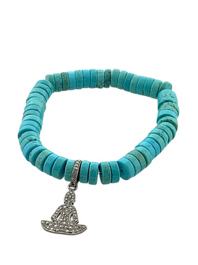 Turquoise Disks with Pave Diamond Sitting Buddha