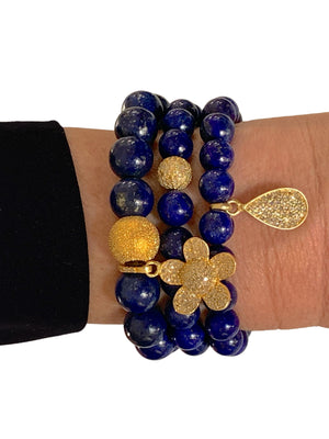 Pave Diamond Brass Ball on Lapis