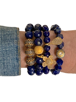 Three Pave Diamond Brass and Sterling Silver Beads on Lapis