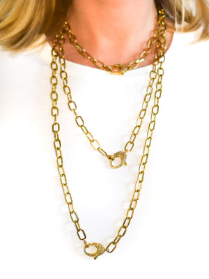 Brass Paperclip Chain with Pave Diamond Clip and Bale