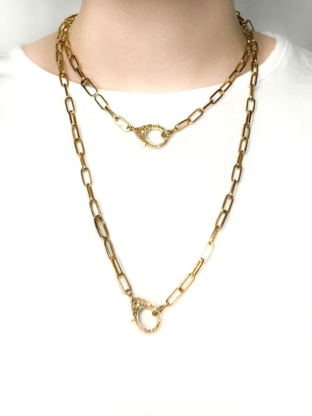 Brass Hidden Double Clip Chain with Pave Diamond Clip and Bale
