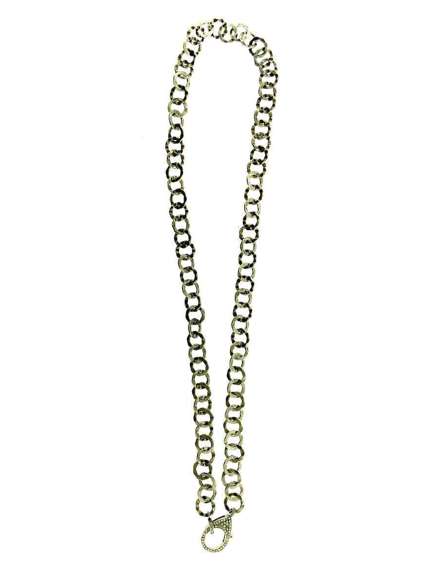 Sterling Silver Hammered Link Chain Pave Diamond Clip and Bale