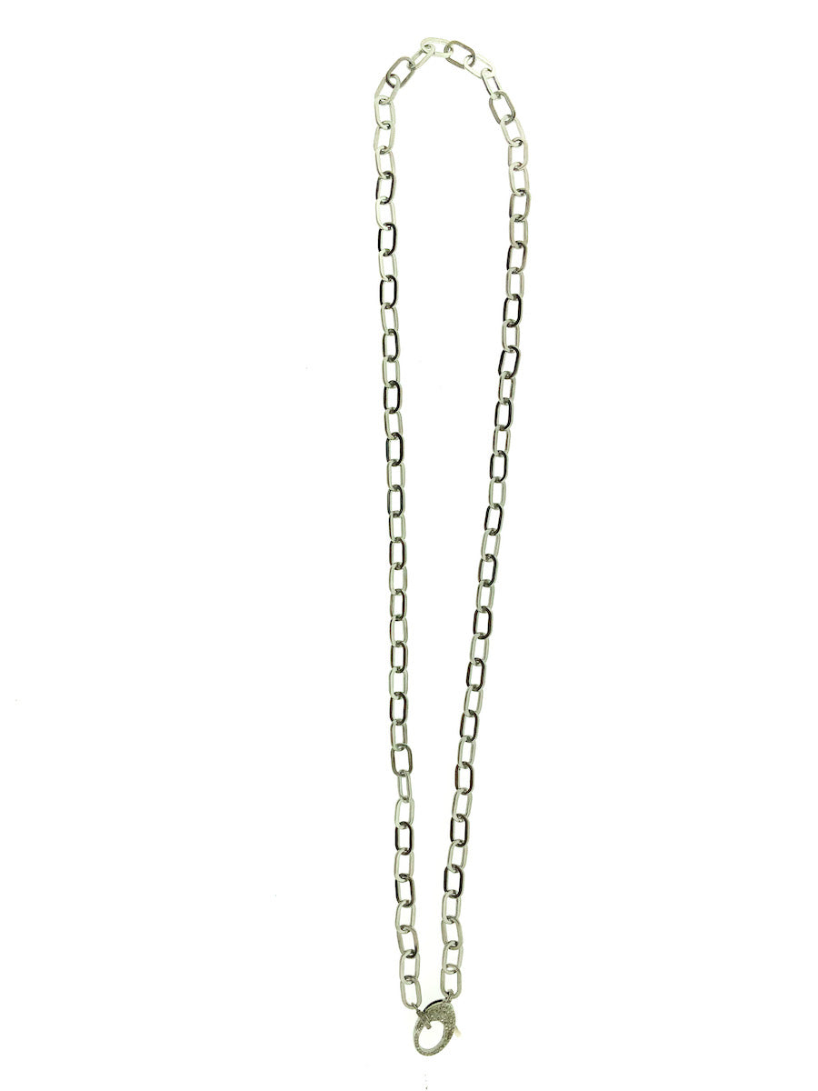 Sterling Silver Paperclip Chain with Pave Diamond Clip and Bale