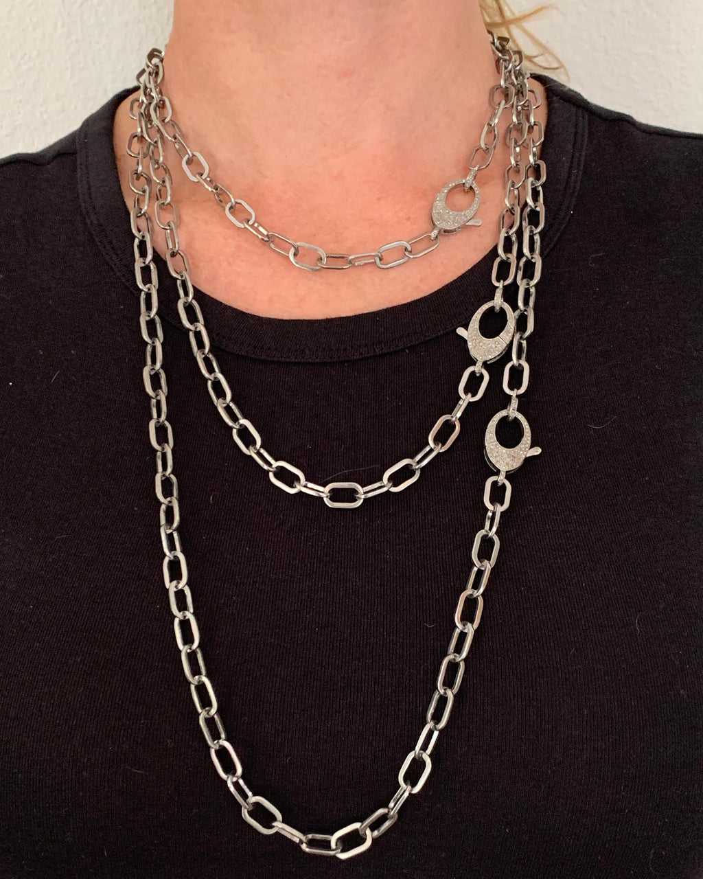 Sterling Paperclip Chain with Pave Diamond Clip and Bale