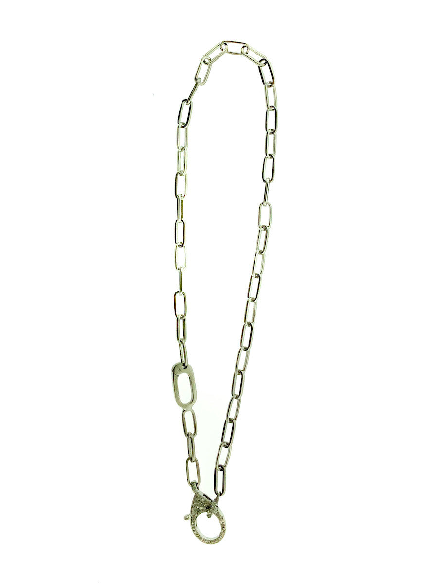 Sterling Silver Double Clip Chain with Pave Diamond Clip and Bale