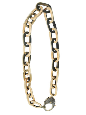 Brass Chunky Chain with Pave Diamond Clip
