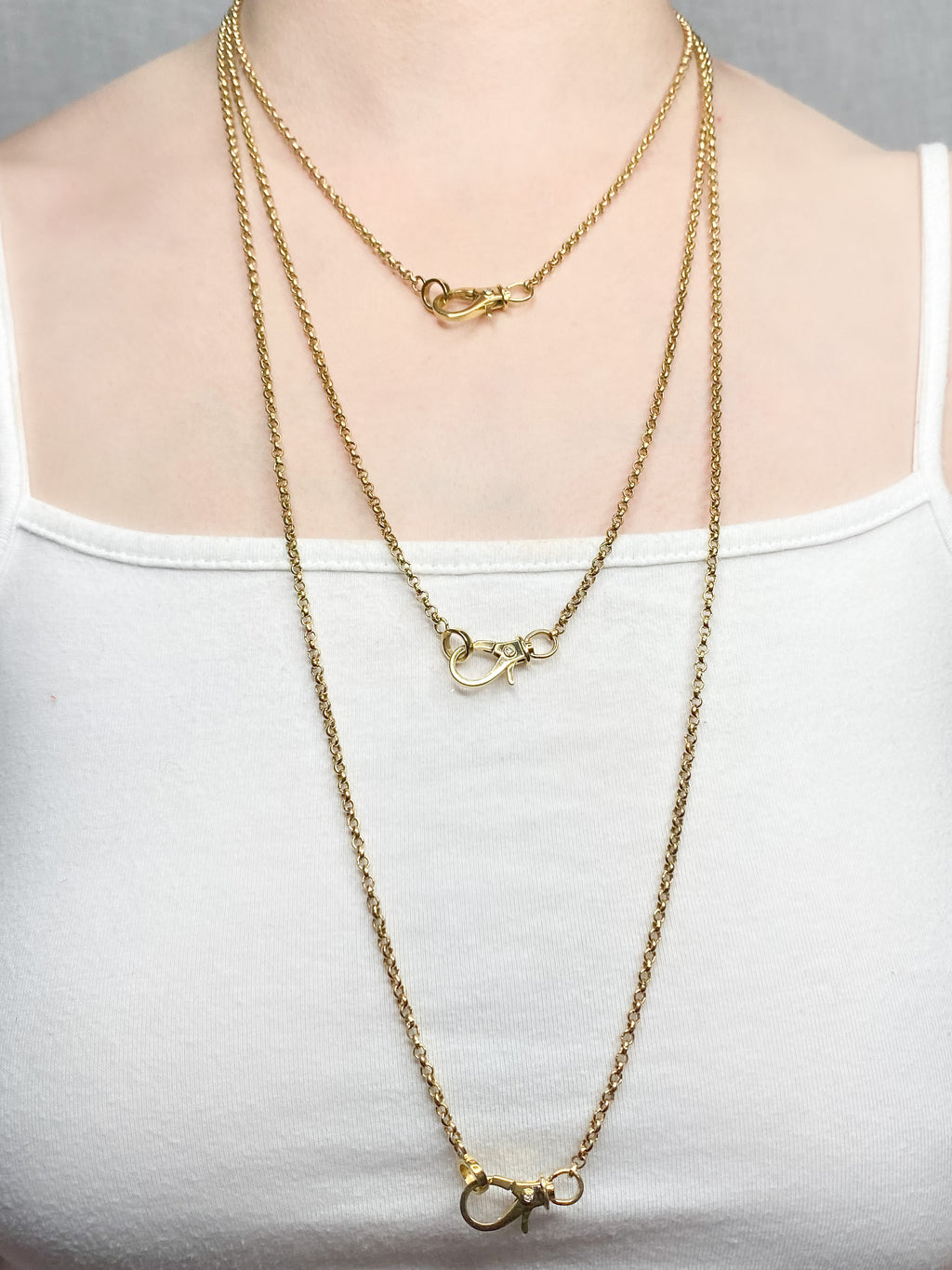 Skinny Brass Chain with Diamond on Each Side of Clasp