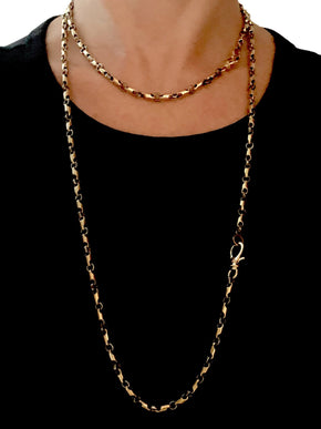 Sterling Silver and Brass Chain with single Diamond on each side of Clasp