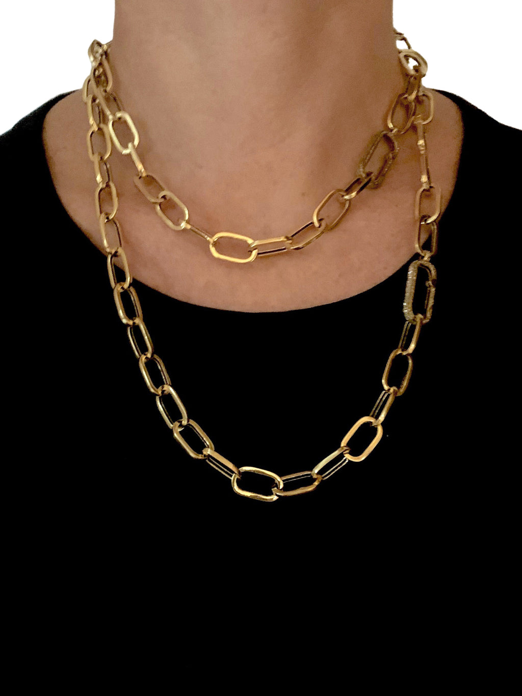 Brass Chain with Pave Diamond Clip and Hidden Side Clip