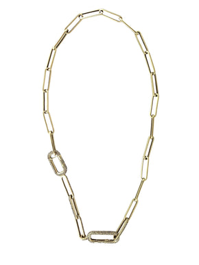 Pave Diamond Double Clip in Brass with Pave Diamond Links