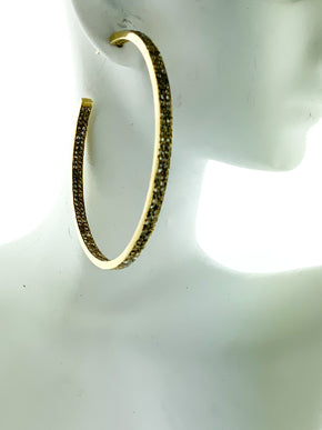 Pave Diamond Brass Double Row Hoop - Large
