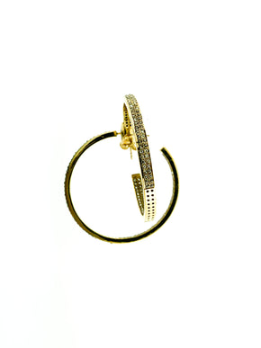 Pave Diamond Brass Double Row Hoops - Medium
