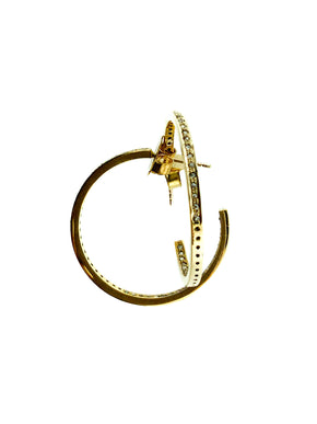 Pave Diamond Brass Single Row Hoop - Small