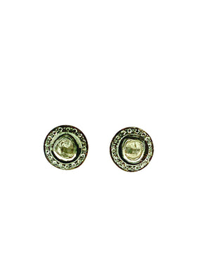 Sterling Silver Pave Halo Diamond Studs - Small