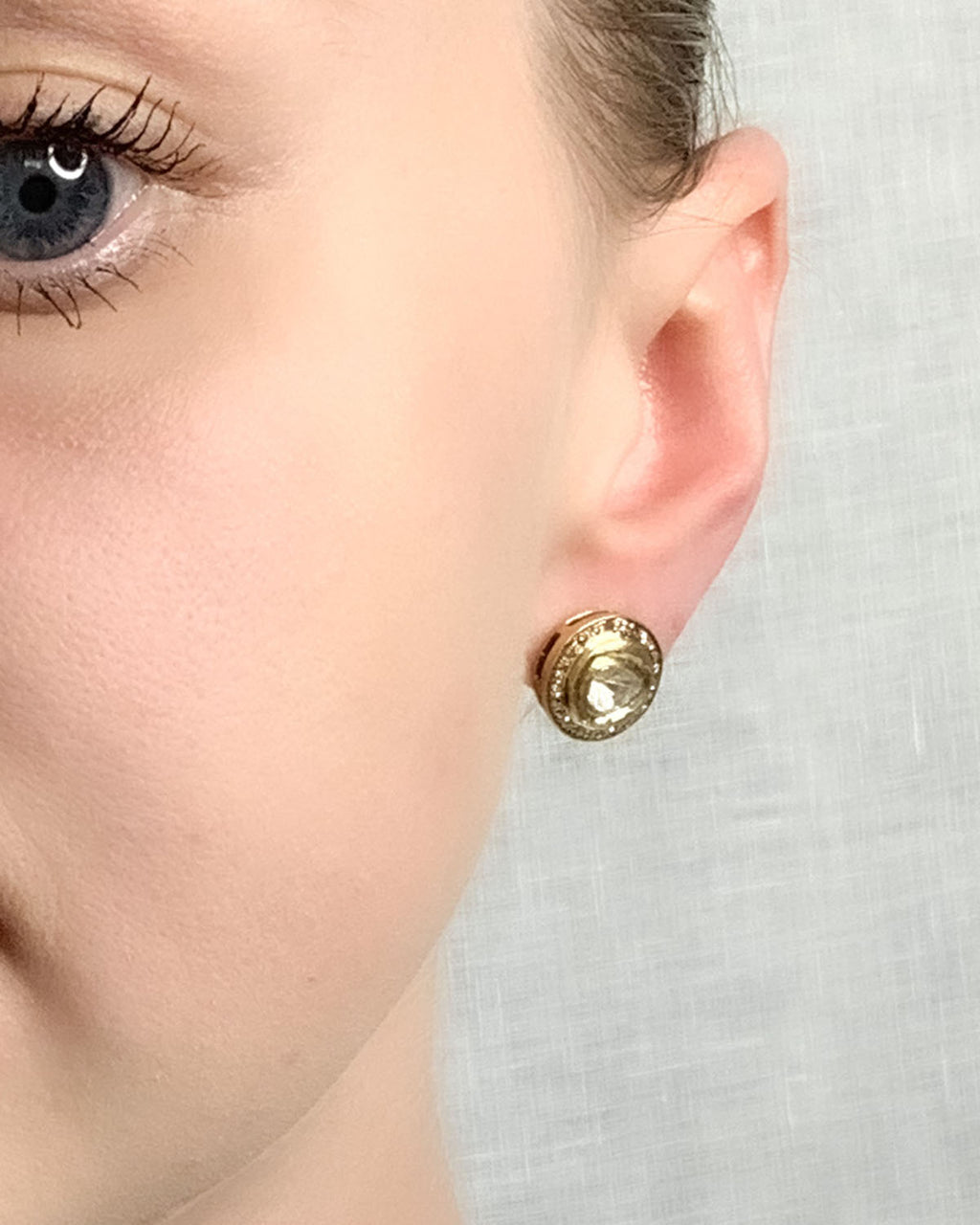 Brass Pave Halo Diamond Stud - Medium