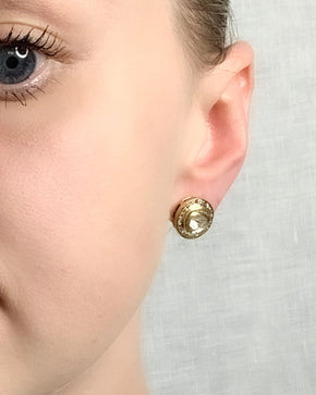 Brass Pave Halo Diamond Studs - Medium