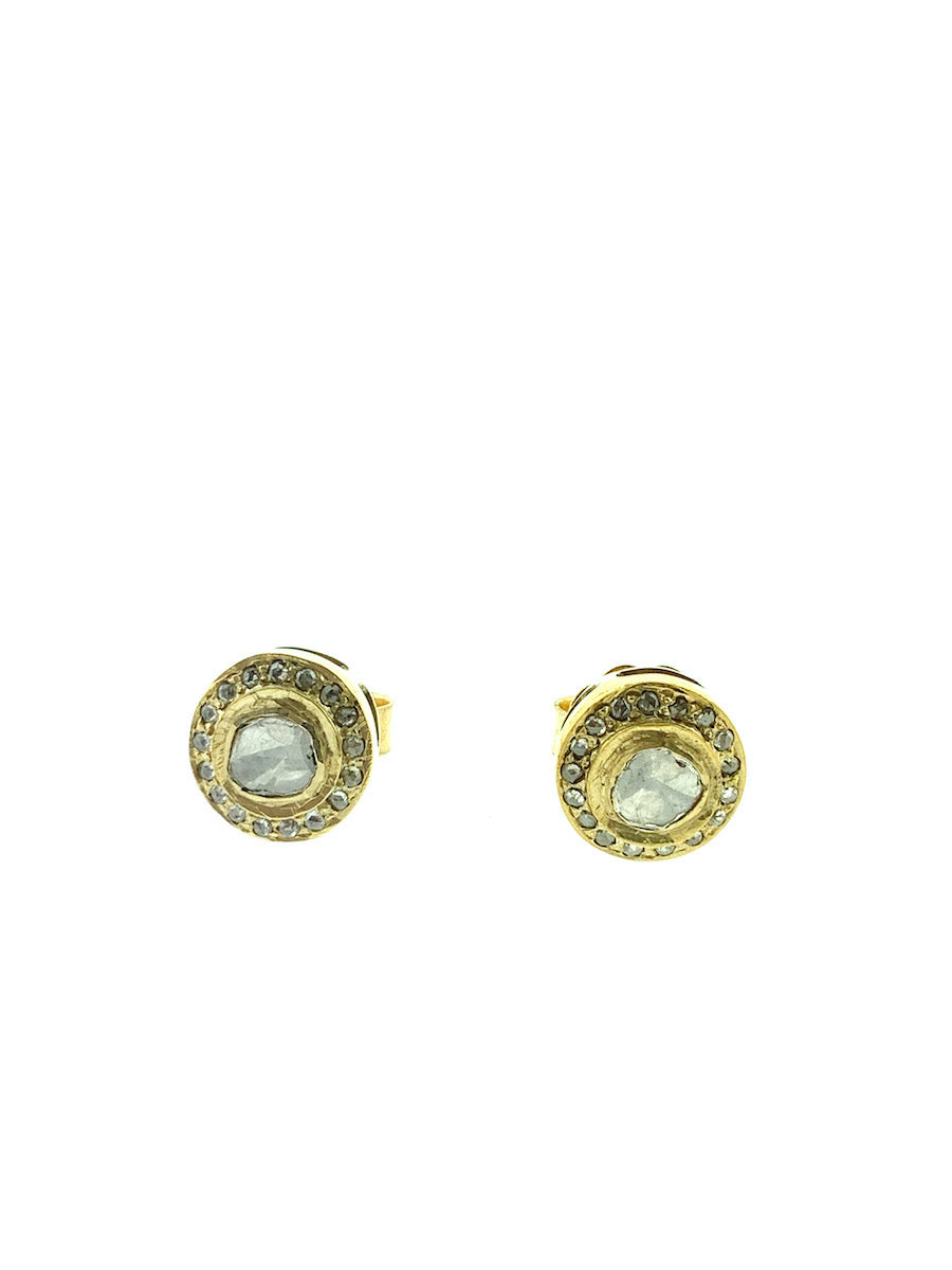 Brass Pave Halo Diamond Stud - Small