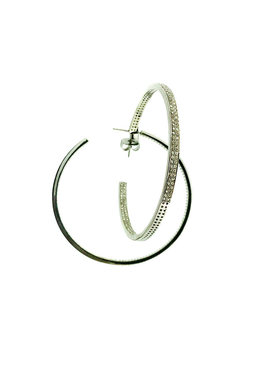 Pave Diamond Sterling Silver Double Row Hoop - Large