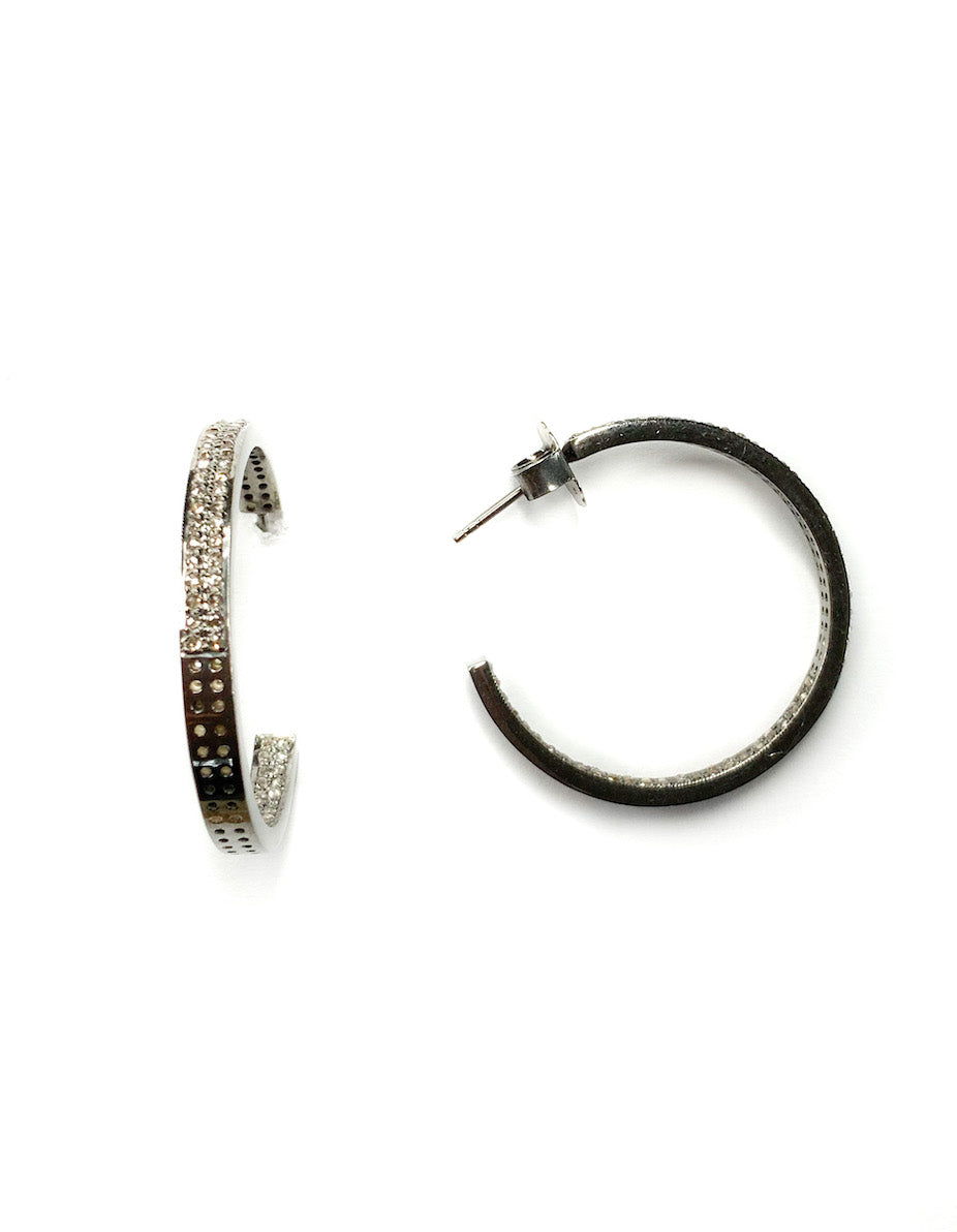 Pave Diamond Sterling Silver Double Row Hoop - Small