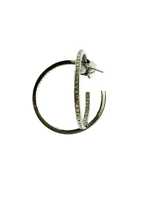 Pave Diamond Sterling Single Row Hoop - Small
