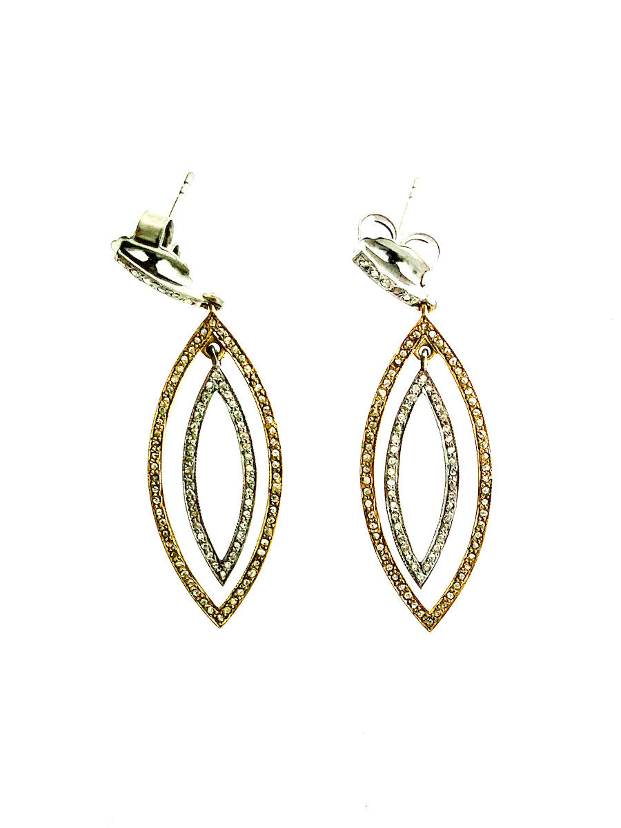 Pave Diamond Brass & Sterling Large Double Marquise Earring