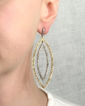 Pave Diamond Brass & Sterling Silver Large Double Marquise Earring