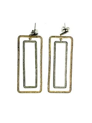 Pave Diamond Brass & Sterling Silver Large Double Rectangle Earring