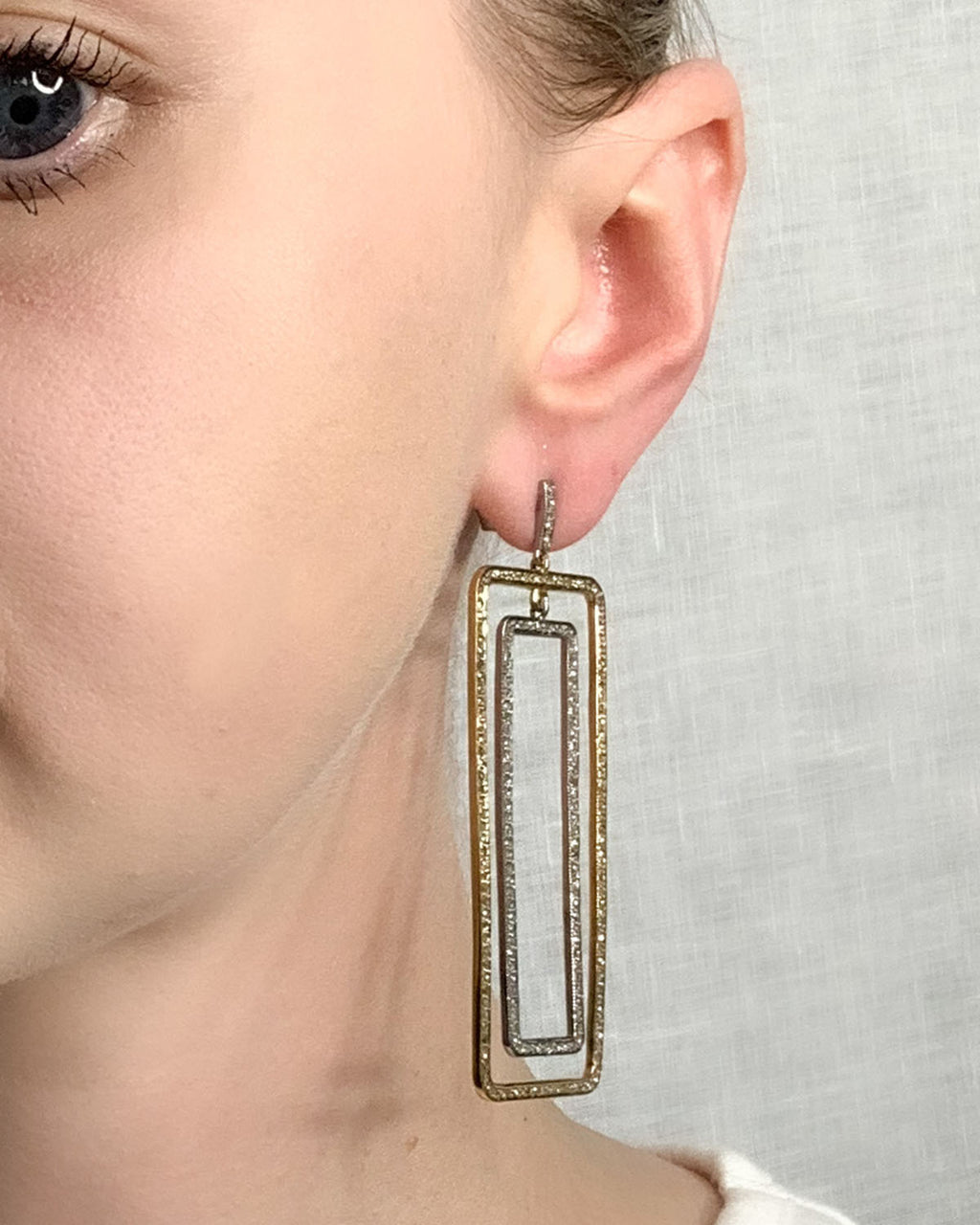 Pave Diamond Brass & Sterling Large Double Rectangle Earring
