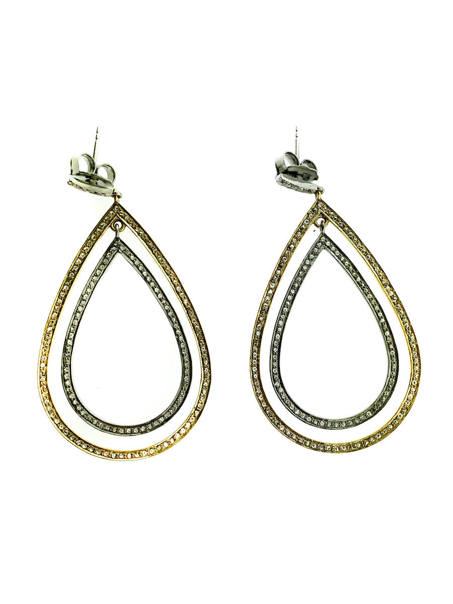 Pave Diamond Brass & Sterling Silver Large Double Tear Earring