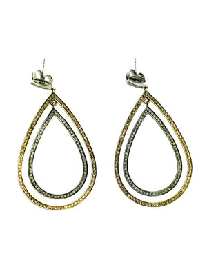 Pave Diamond Brass & Sterling Large Double Tear Earring