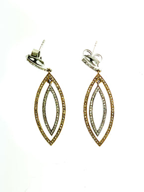 Pave Diamond Brass & Sterling Small Double Marquise Earring