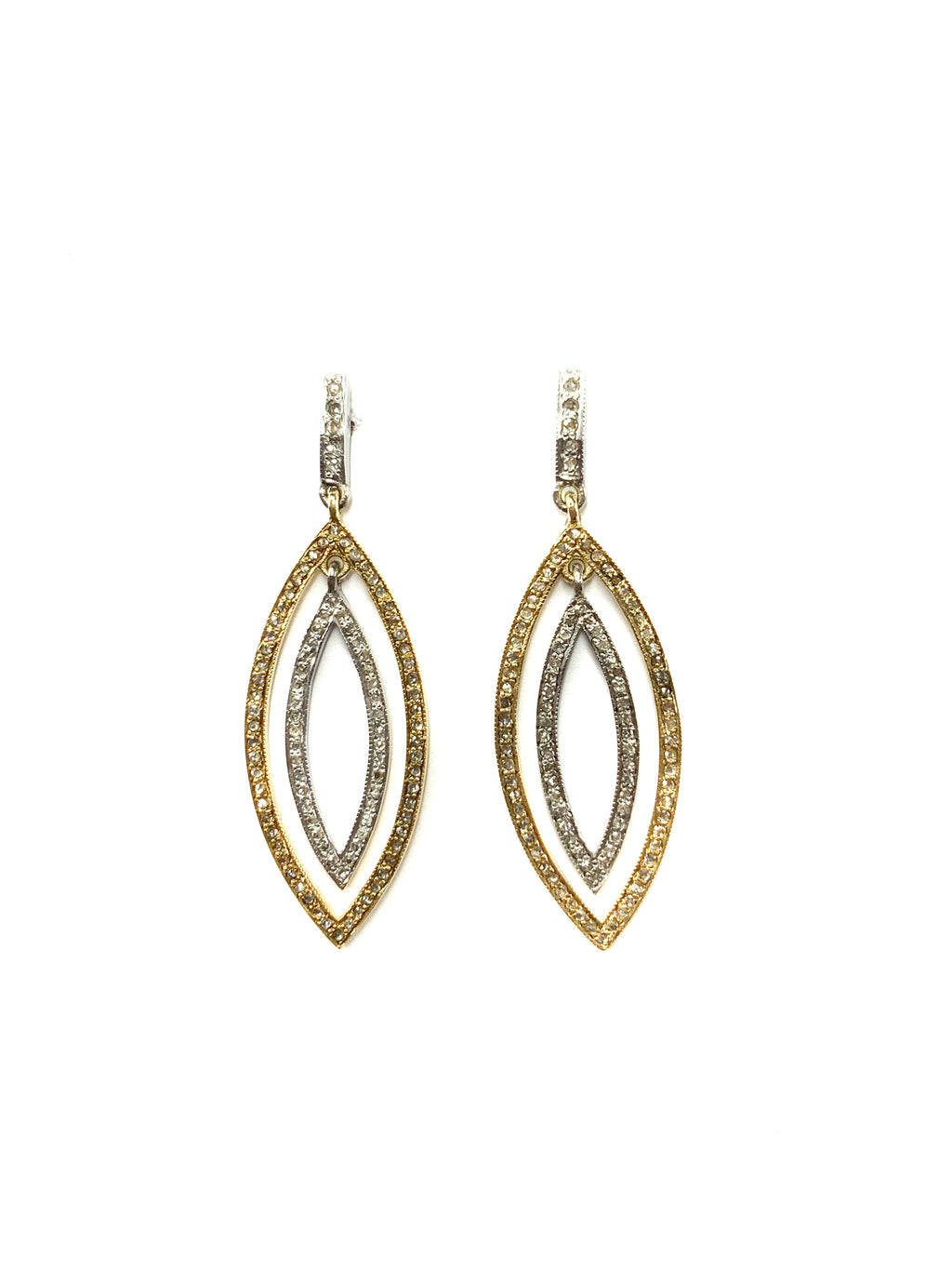 Pave Diamond Brass & Sterling Silver Small Double Marquise Earring