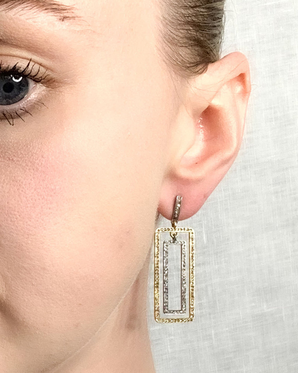 Brass & Sterling Silver Small Double Rectangle Earring