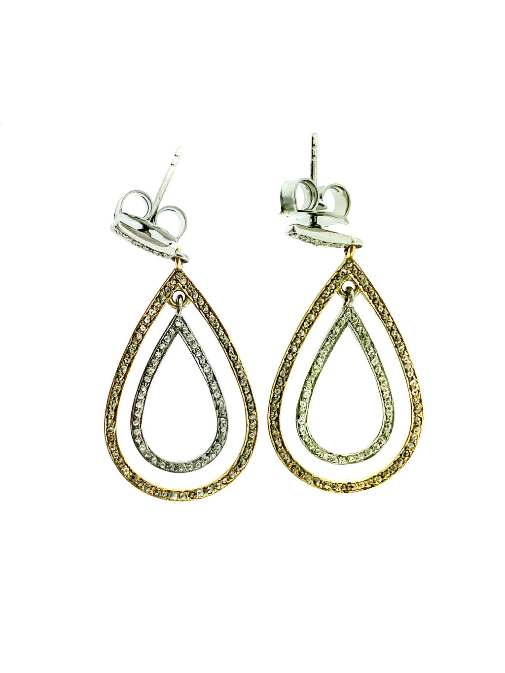 Pave Diamond Brass & Sterling Small Double Tear Earring