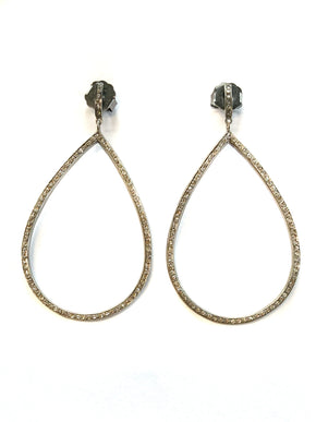 Pave Diamond Sterling Silver Large Tear Earring