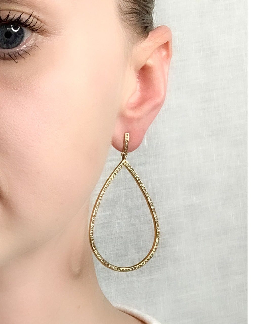 Pave Diamond Brass Large Tear Earring