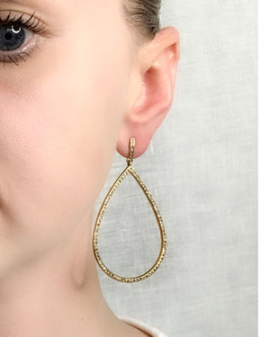 Pave Diamond Brass Large Tear Earrings