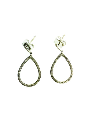 Pave Diamond Sterling Silver Small Tear Earrings