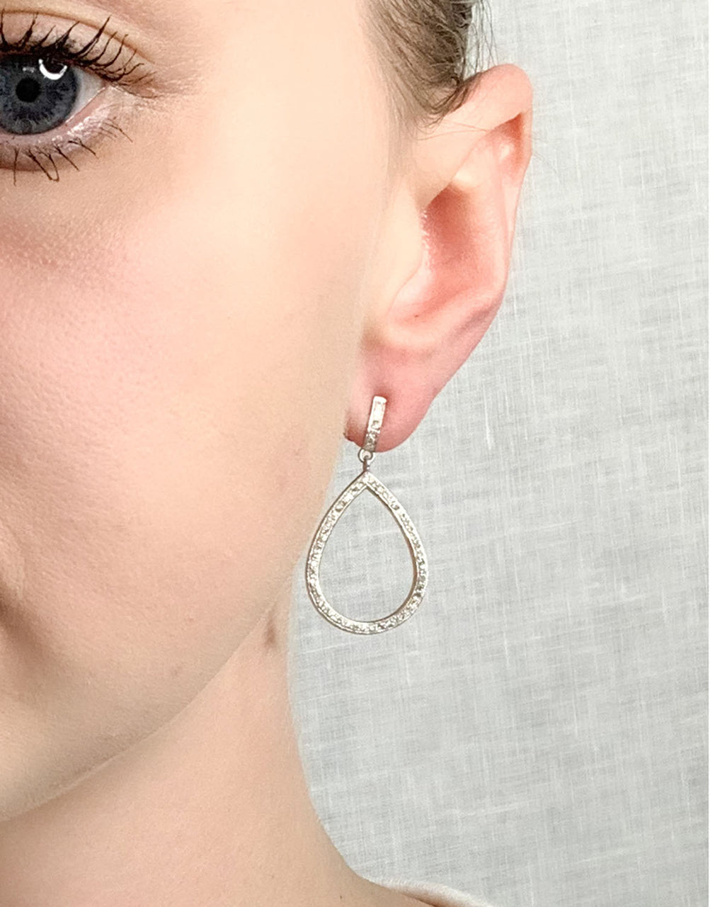Pave Diamond Sterling Silver Small Tear Earring