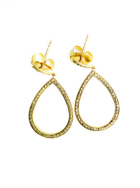 Pave Diamond Brass Small Tear Earring
