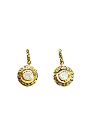 Brass Pave Halo Diamond Drop Earring