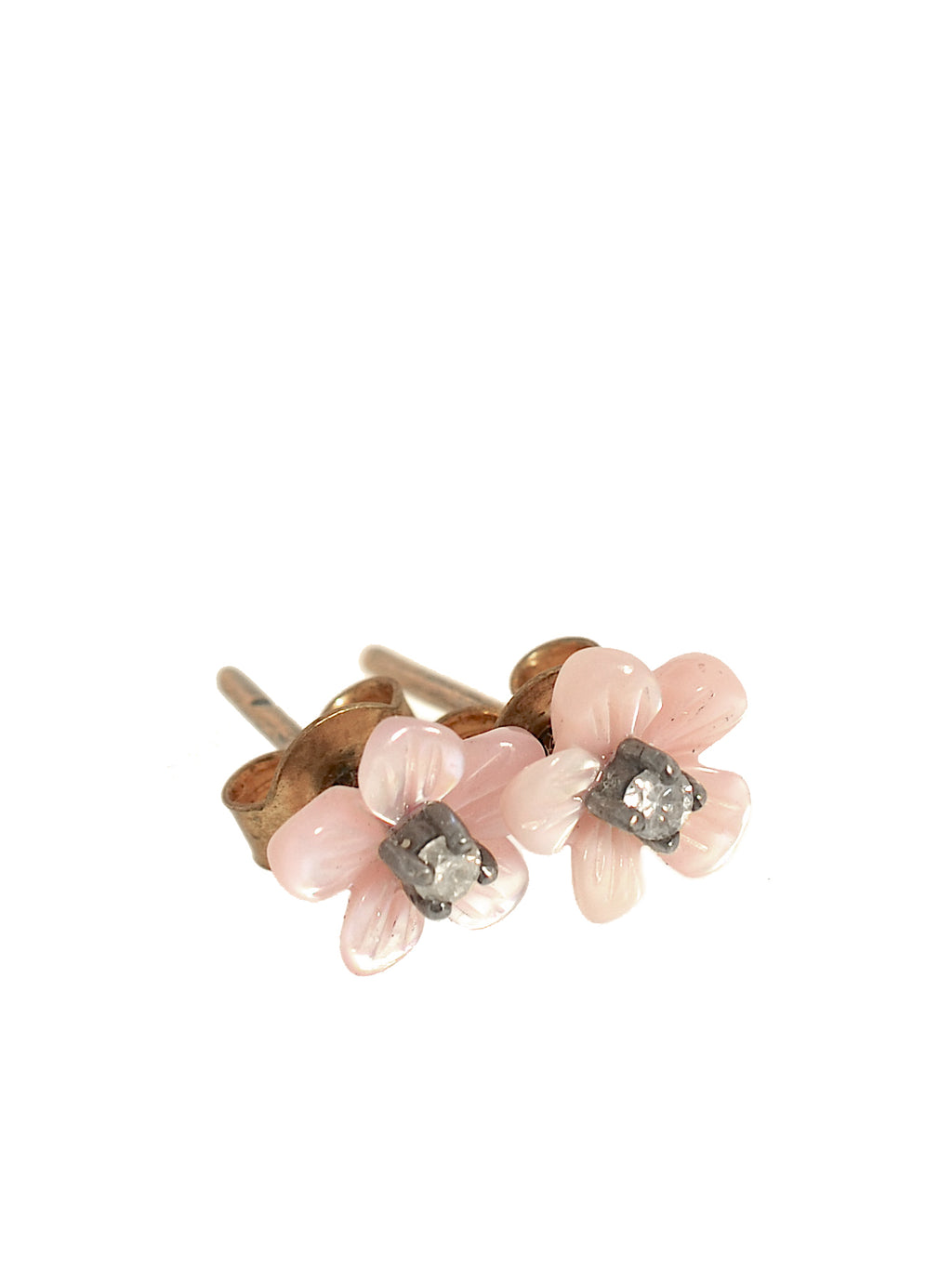 Diamond Studs in Mother of Pearl Flowers